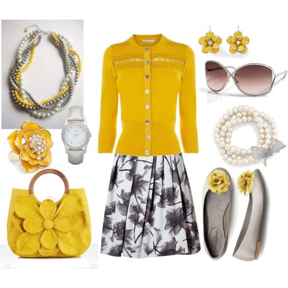 Yellow and Grey w/Flowers and Pearls, created by anakt.polyvore.com