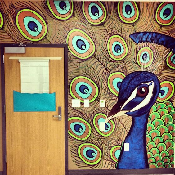 Peacock mural in my art room art room murals decor for Educational mural