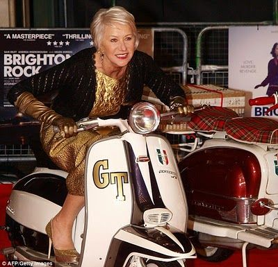 Helen Mirren on a GT moped promoting the 2010 remake of the film 'Brighton Rock'