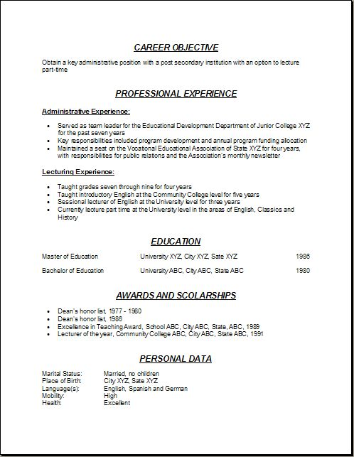 professor resume format