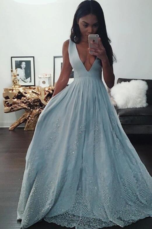Indian Prom Dress,Black Girl Prom,Light Sky Blue prom dress,Lace prom dress,Plunge V Neck prom dress,Elegant Sexy prom dress 2016,Long prom dress,