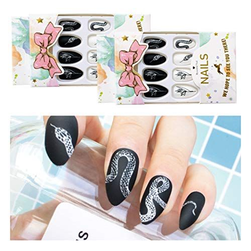 Amazon Com 24 Pcs X 2 Colors Cool Stiletto Snake Press On Nails False Nails With Designs Press Ons Press On Nail S Short In 2020 Fake Nails Nails Press On Nails
