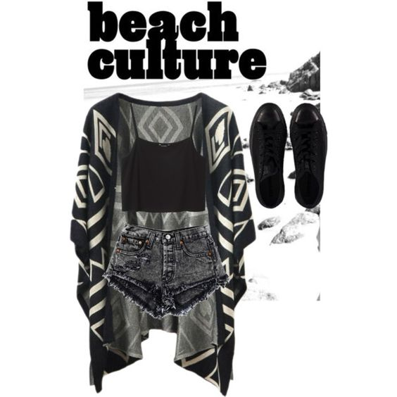 going to the beach by v-aness-a on Polyvore featuring Monki and Converse