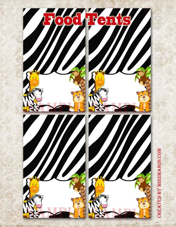 Safari Animals Food Tents  Instant Download  by M2MPartyDesigns