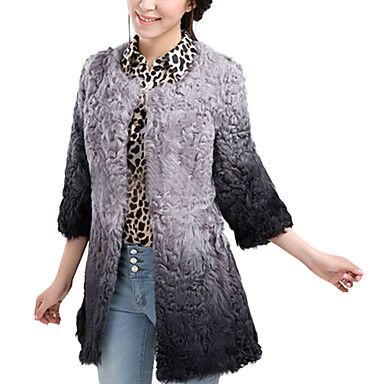 3/4 Sleeve Collarless Wool Party/Casual Coat(More Colors)