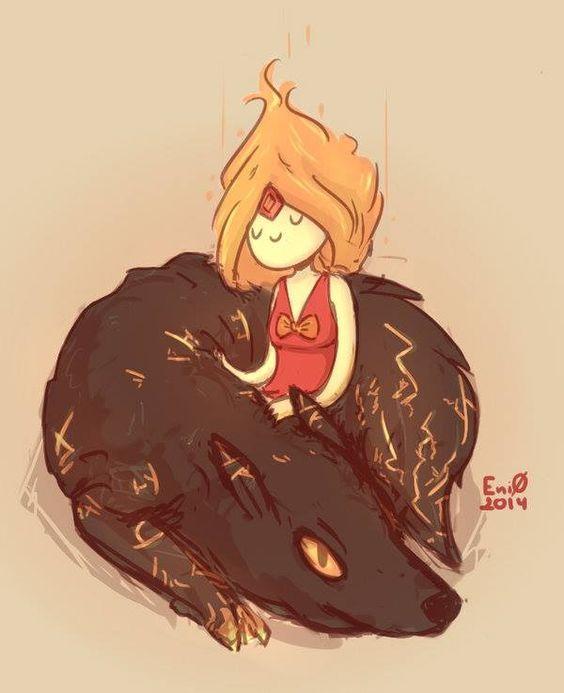 Hora de Aventura - princesa flama, lobo de fuego  :)