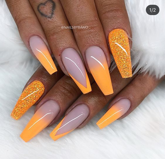 70 Attractive Acrylic Coffin Nails To Try This Fall Koees Blog Orange Nails Gel Nails Trendy Nails