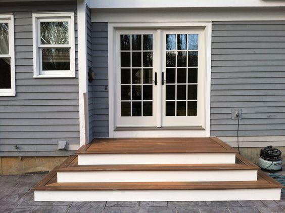 Steps to Patio Back Door   We recently finished the steps and deck above. The decking is Fiberon ...