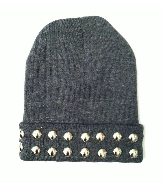 Studded Halo Beanie. $16.00, via Etsy. beanie, hat, winter, cozy, woven, studded beanie, studded hat, studded, studs, silver, square pyramid, edgy, hipster, goth: