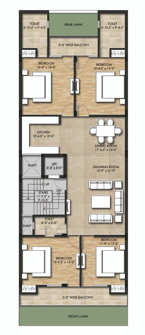 4 Bhk Builder Floor Available In Greenfields Colony Sector 43 Faridabad Happy Estates Small House Elevation Design Narrow House Designs House Outside Design