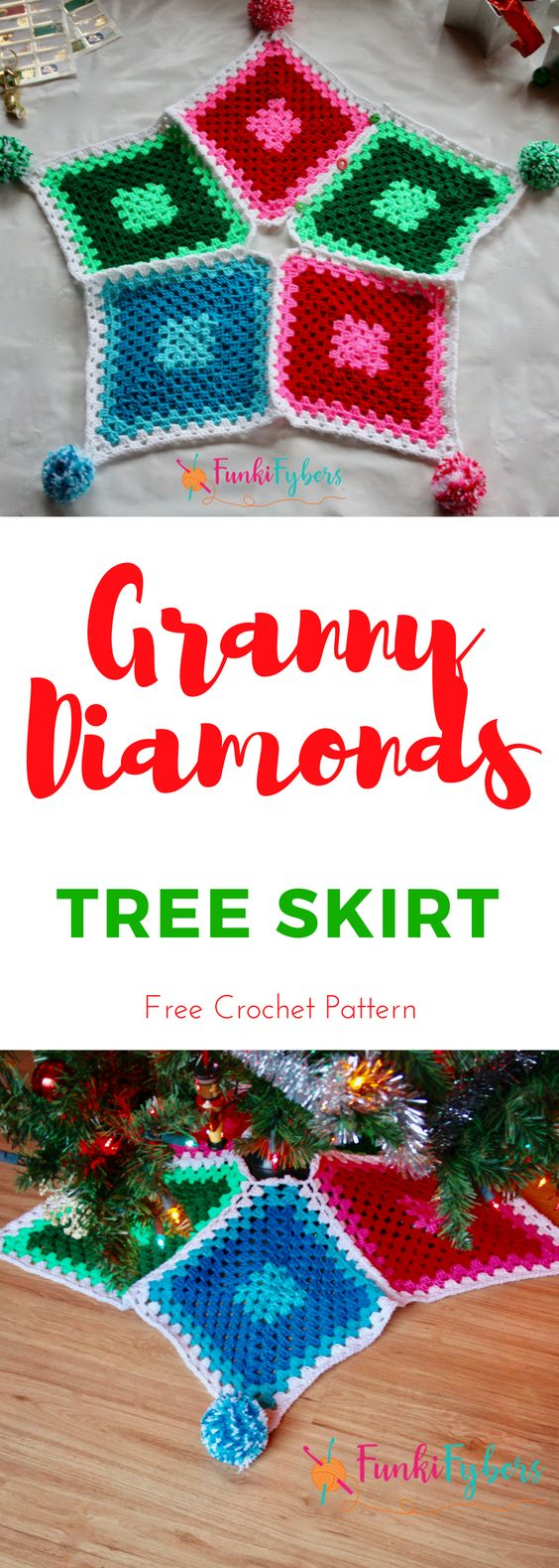 This Christmas tree skirt is made with 5 granny diamonds, then joined. Its easy to make and looks great with pom toms, enjoy this free crochet pattern, happy holidays.