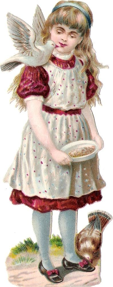 Oblaten Glanzbild scrap die cut chromo Kind 15cm lady girl Taube dove colombe: