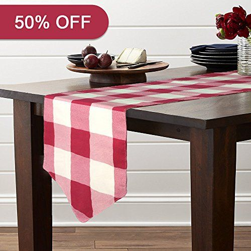 Lamberia Classical Durable Table Runner Cotton Canvas Fabric Table Top Decoration 12 X 72 Vintage Red And White Checkered With Images