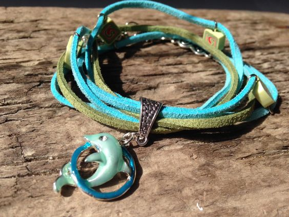 Baby Blue and Green Double Wrap Leather Suede Hippie Handmade Bracelet with Dolphin Charm by EffyBuu on Etsy #leather #bracelet #hippie #handmade #doublewrap #suede #charm #charmbrancelet #dolphin #Babyblue