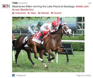 Stephanie's Kitten wins the Lake Placid at Saratoga!