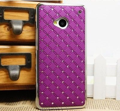 PURPLE Rhinestone Diamond Bling Chrome Hard Cover Case for HTC One M7 freeship $5.99