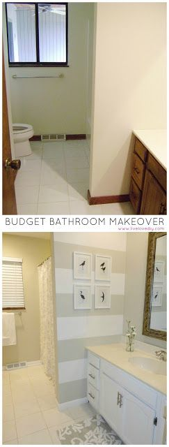 Budget bathroom renovation for under $200! Tons of ideas for how to update old bathrooms.: