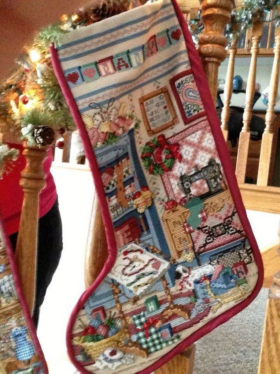 "Cross stitch ""Sewing Room"" Stocking"