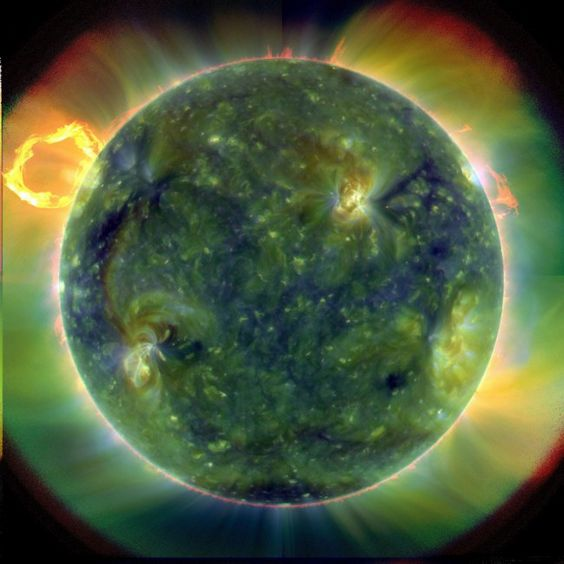 Ring of fire: Known as a 'prominence eruption', this is a loop of gas heated to an extremely high temperature. Twisted magnetic fields on the Sun's surface cause the gas to be shaped like this. This image was captured by the satellite on March 30