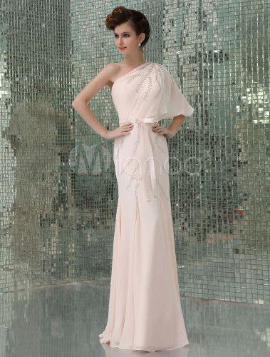 Robe de soirée sirène rose en chiffon à une épaule longueur plancher - Milanoo.com