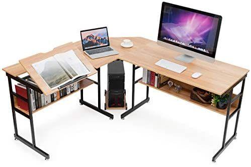 Amazon Com Tangkula 67 Inches L Shaped Desk Corner Computer Desk With Bottom Bookshelves Cpu Stand Drafting D Corner Computer Desk Tabletop Bookshelf Desk