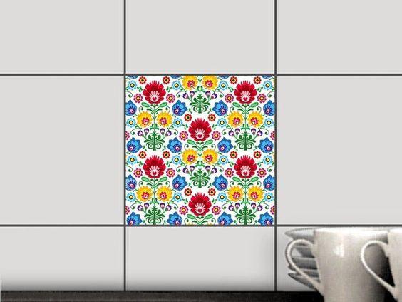 Fliesenaufkleber - Fliesenaufkleber - Ornament Flower - ein Designerstück von…