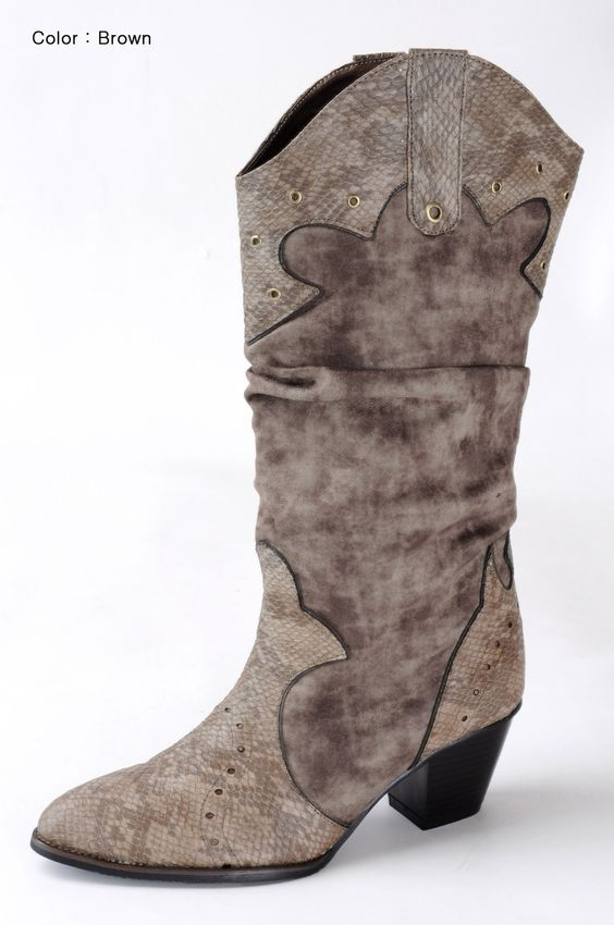 annakastle womens slouchy faux suede snake print cowboy