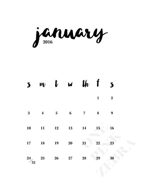 2016 Minimalist Monthly Calendar Printable | Style, Monthly calendars ...