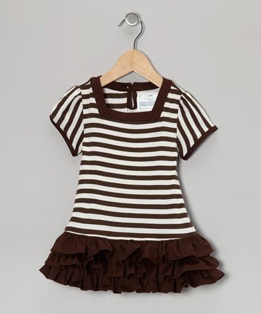 Take a look at this Brown & White Stripe Café Mocha Dress - Toddler & Girls by Prep California on #zulily today!