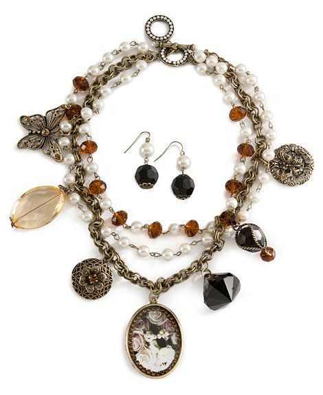 Victorian Rose Charm Necklace & Earring Set