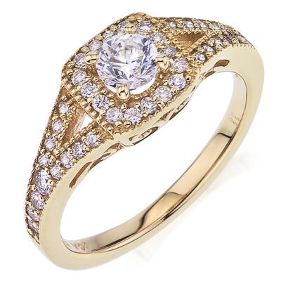 Jasmine 517061441 #CamelotBridal 14KT yellow gold Engagement ring with .36ct of round pave set melee and a 3/8ct round center diamond. 517061441