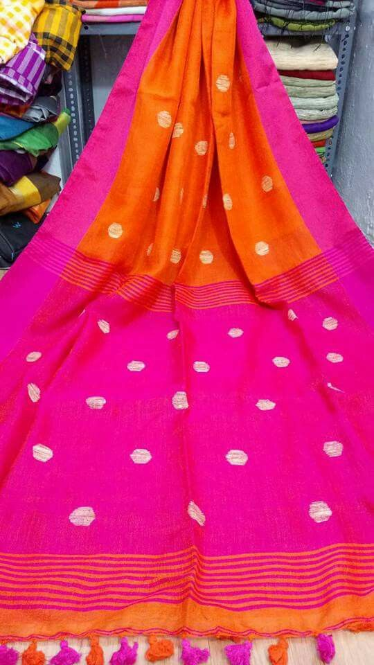 Beautiful Pure Linen By Linen Ball saree With Unstitched running Blouse For Women Wedding wear Party Wear Sari
