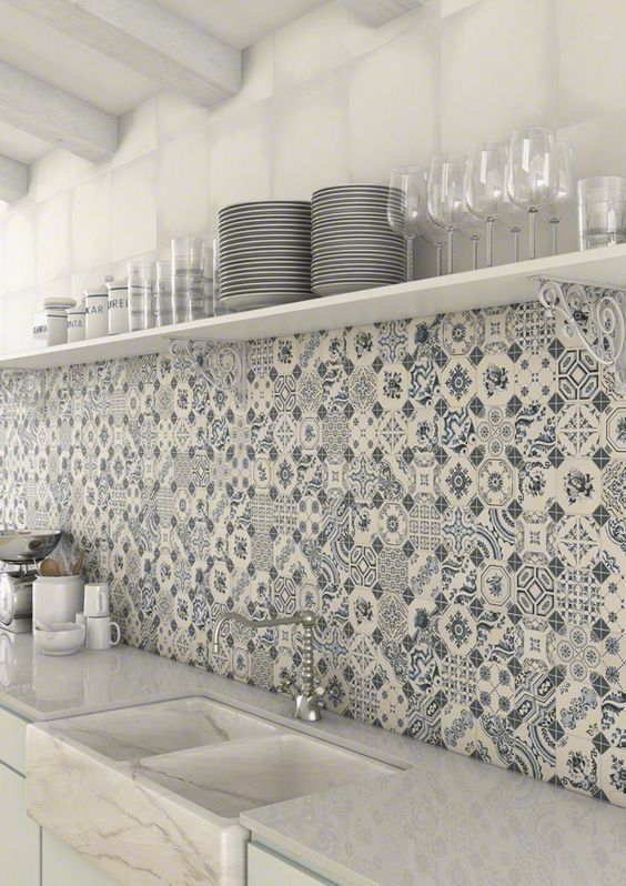 Pattern Tiles Moroccan Turkish Mediterranean Portuguese Spanish Vibe Decor Kitchen Tile Ideas Grey And Patchwork Kitchen Kitchen Wall Tiles Patchwork Tiles