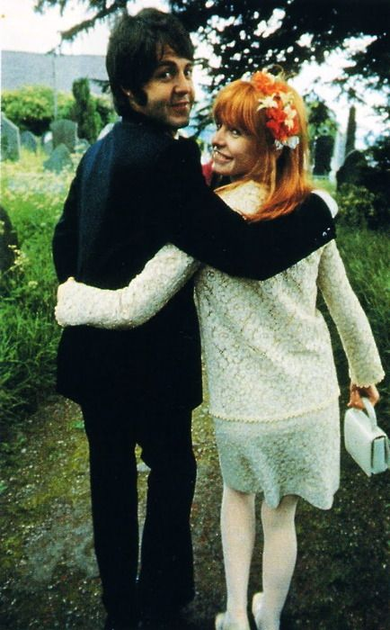 Jane and Paul at Mike McCartney's wedding on June 7, 1968. Jacket similar to Jane's is going in the Etsy shop today!