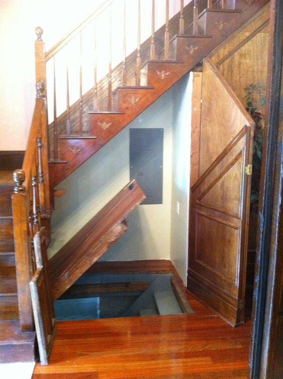 Hidden Staircase Under Another Staircase Or Hidden Door For Small Storage Space In A Tiny Home