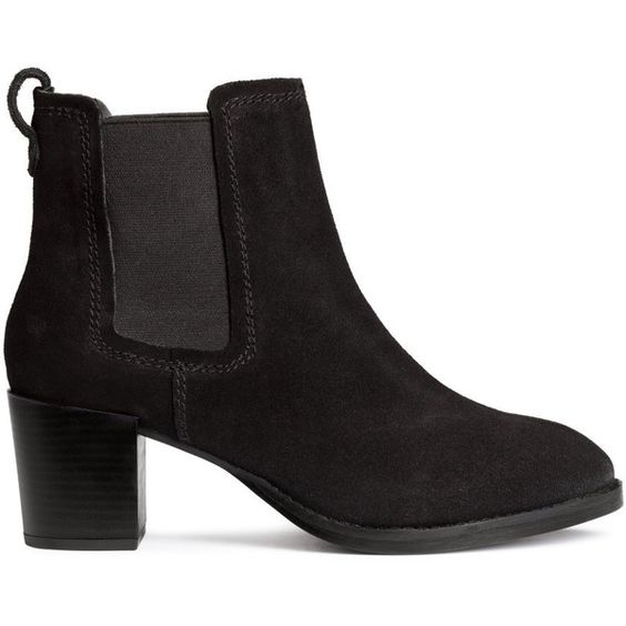 H&ampM Suede ankle boots (€47) ❤ liked on Polyvore featuring shoes
