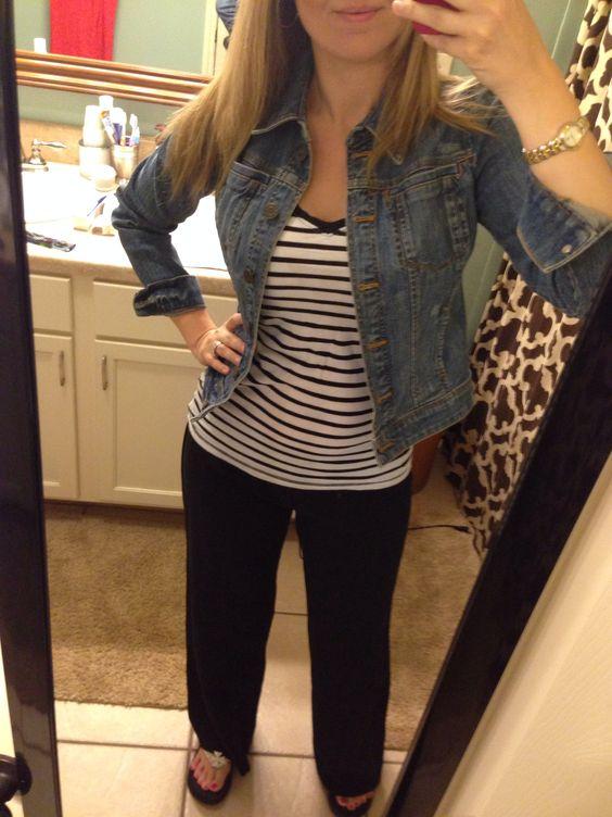 Denim jacket, striped top and black linen pants