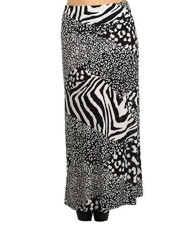 Loving this Black & White Jungle Patch Maxi Skirt - Plus on #zulily! #zulilyfinds