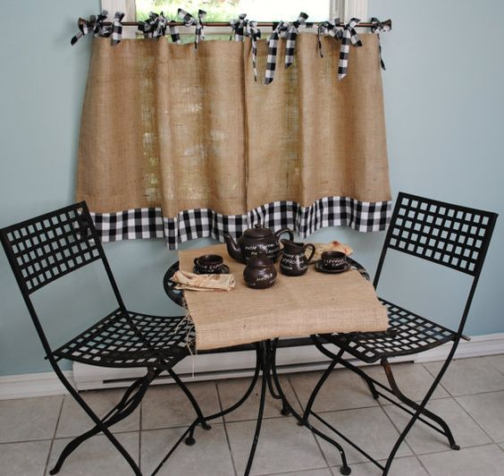 Burlap and Gingham curtains...I could make a variation of something like this for my living room curtains...