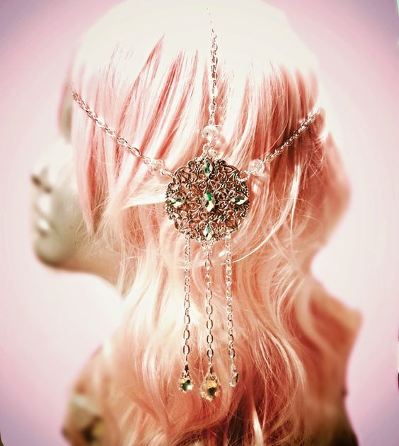 Pastel Goth Crystal Mucha Art Nouveau Headdress by ravenevejewelry