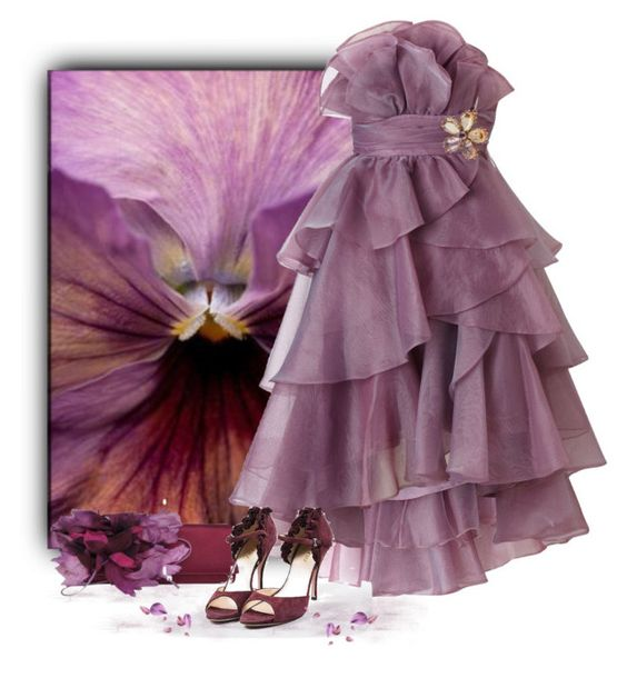 """Flowers 2/5 - Pansy (purple)"" by love-n-laughter ❤ liked on Polyvore featuring Gucci, Ariella and Prada"