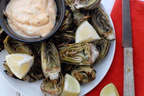 Grilled Baby Artichokes and Chipotle Mayo dipping sauce