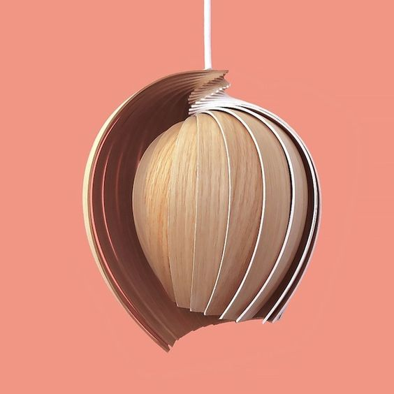 Tulip-shaped 25 wooden lamp by Kovac Family