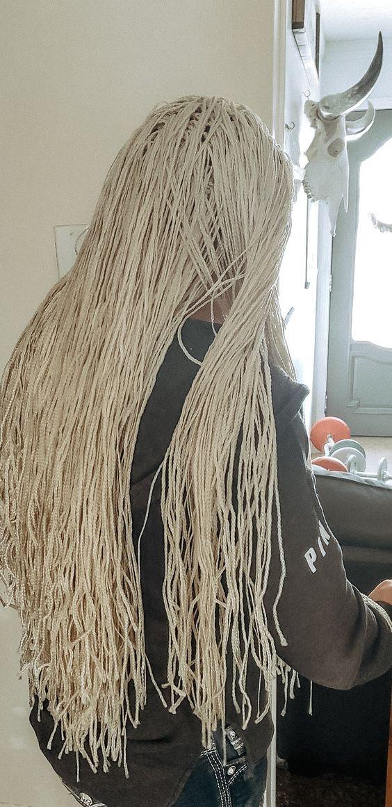 Platinum blonde box braids mini braids micro braids crochet braids