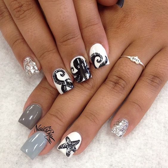 LOVE THESE! #octopus#nails#handpainted