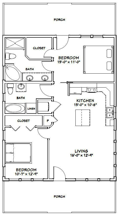 28x36 House 2 Bedroom 2 Bath 1 008 Sq Ft Pdf Floor Plan Model 2e Ebay Small House Floor Plans Floor Plans Tiny House Plans