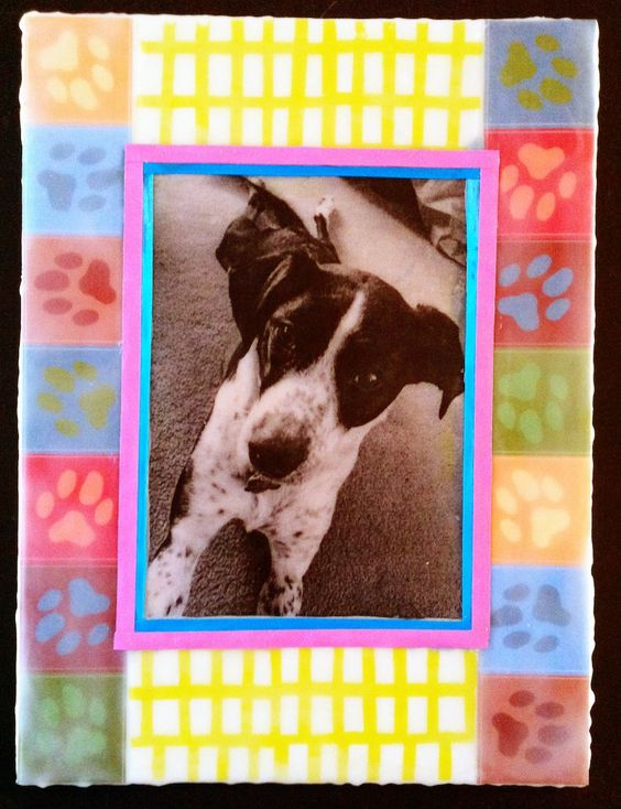 Custom encaustic collage dog portrait by CreativeArfs.com