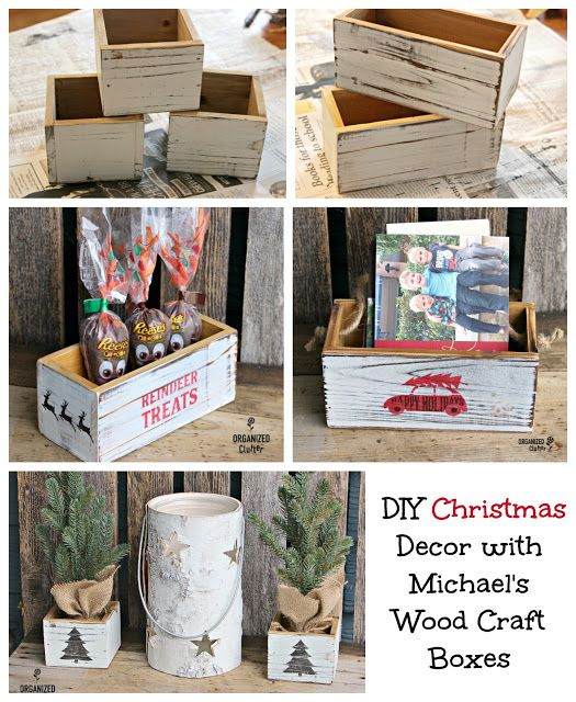 Diy Michael S White Washed Christmas Wood Box Decorations Christmas Wood Christmas Decor Diy Christmas Stencils