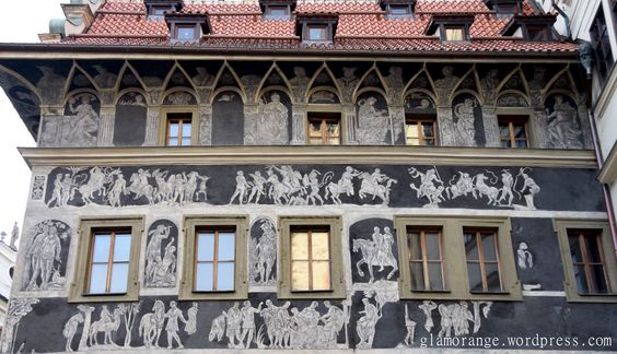 Building with frescoes in the Old Town Square in Prague