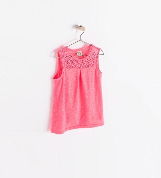 Image 1 de T-shirt guipure de Zara